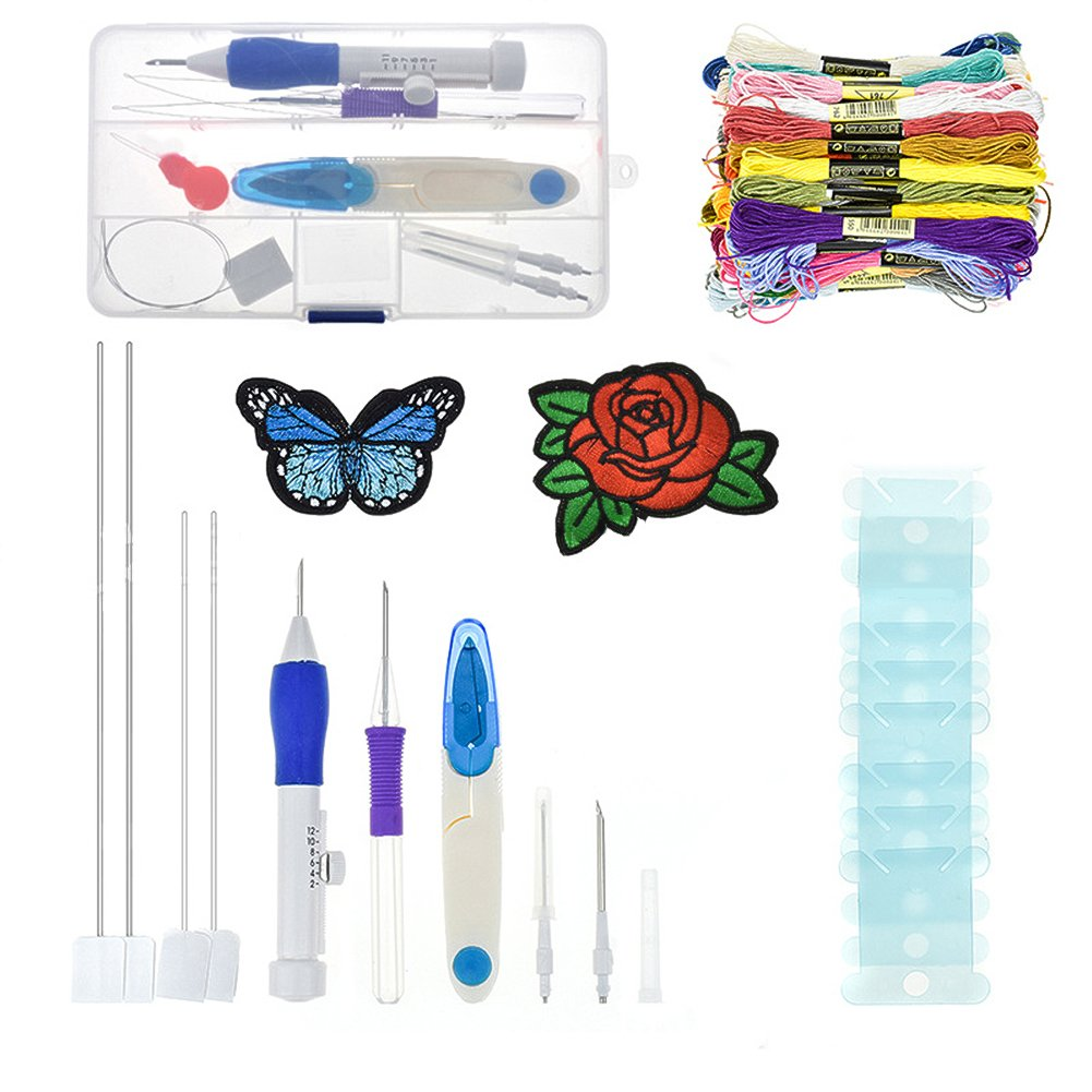 Interesting Embroidery Kit Craft Tool Set Embroidery Stitching Punch Needles Magic Embroidery Pen Kit with Storage Box 50 Colored Cross Stitch Threads with Seam Ripper and Yarn Scissor