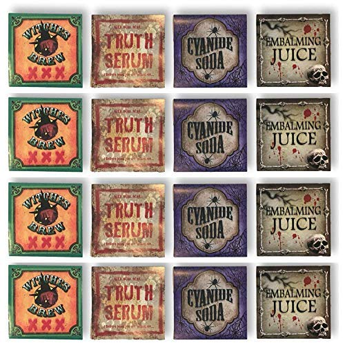 Halloween Bottle Labels - 12 Stickers - Creepy Haunted Mansion Decor ()
