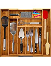KICHLY Expandable Bamboo Drawer Organizer - Adjustable Home and Kitchen Drawer Organizer - 8 Compartments