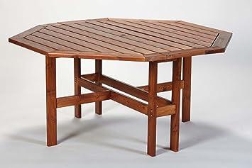 Amazon De Gartentisch Pine Honey 130 Cm Rund Achteckig Von