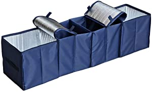 Collapsible Car Trunk Organizer, Cozyswan Fabric Auto Trunk Storage Container Foldable Multi 4 Compartments Fabric Storage Basket and Cooler & Warmer Set, Blue