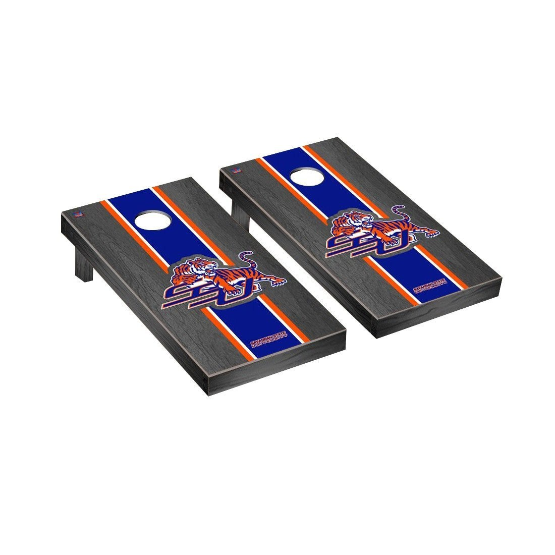 Victory Tailgate Savannah State Tigers Regulation Cornhole Game Set Onyx Stained Stripe Version