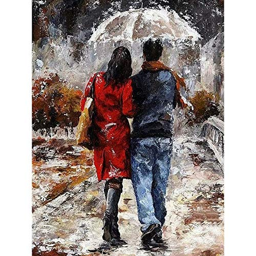 (Diy Oil Painting Paint by Number Kit for Adult Kids - Lovers Holding Umbrella in Rain 16X20)