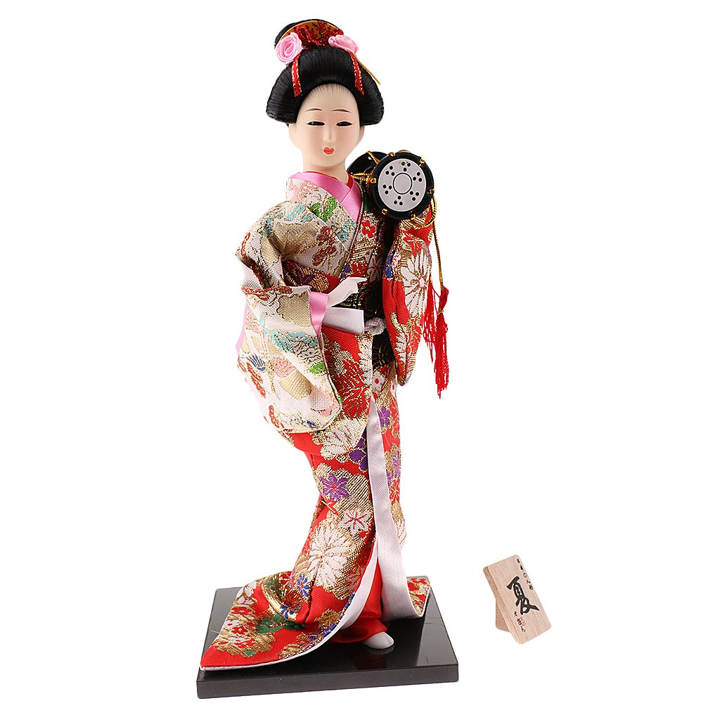 Homyl 1 Piece Japanese Kimono Geisha Doll Statue Crafts Gift Collectibles for Kids Friends Red #3