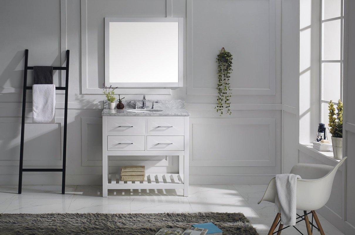 Virtu USA MS-2236-WMRO-WH Transitional 36-Inch Single Sink Bathroom Vanity Set, White