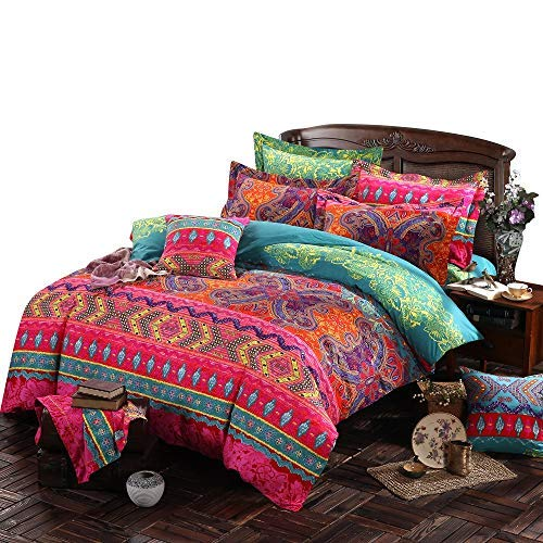 - COMFORTEX Bohemian Exotic Style Bohemia Retro Printing Bedding Ethnic Vintage Floral Duvet Cover Boho Bedding 100% Brushed Cotton Bedding Sets With Flat Sheet 4-Piece Soft and Comfortable(Queen)