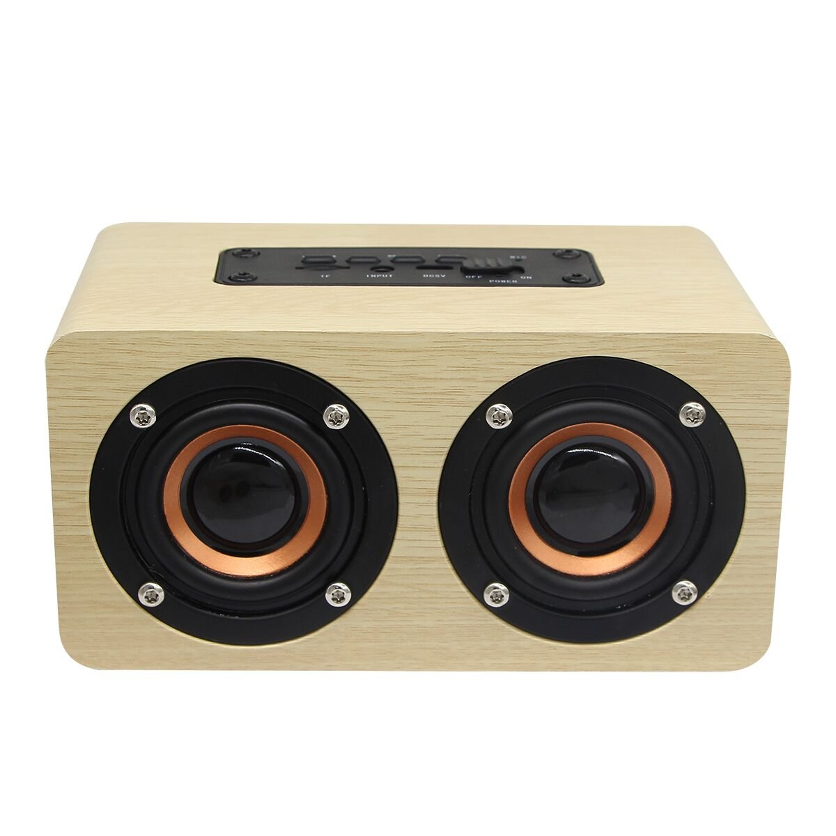 Wooden Portable Bluetooth Speaker,Wireless Bluetooth 4.2 Stereo Speakers Outdoor Music Player Built-in Microphone Support TF Card AUX for Travel, Home, Beach, Outdoors (Yellow wood grain)