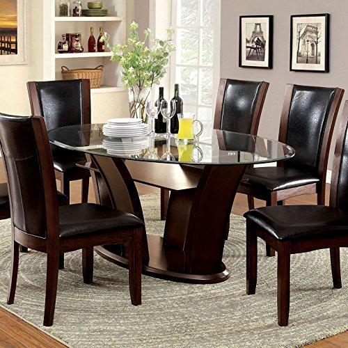 Manhattan Dark Cherry Finish Oval Glass Top 7-Piece Dining Table Set