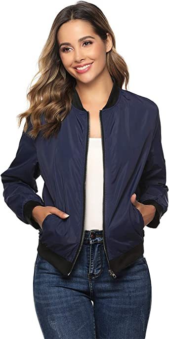 MISS MOLY Bomber Donna Giacca con Cerniera Maniche Lunghe Bomber Jacket