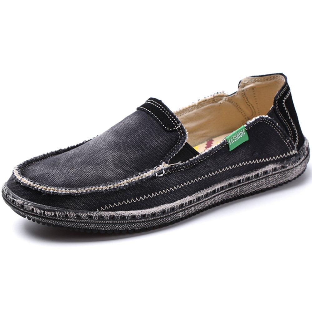 VILOCY Men's Slip on Deck Shoes Canvas Loafer Vintage Flat Boat Shoes Black 47