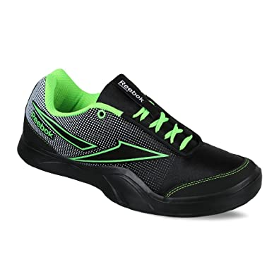 Reebok Men's Athletic Run 2.0 Black, White and Neon Green Running Shoes - 7  UK