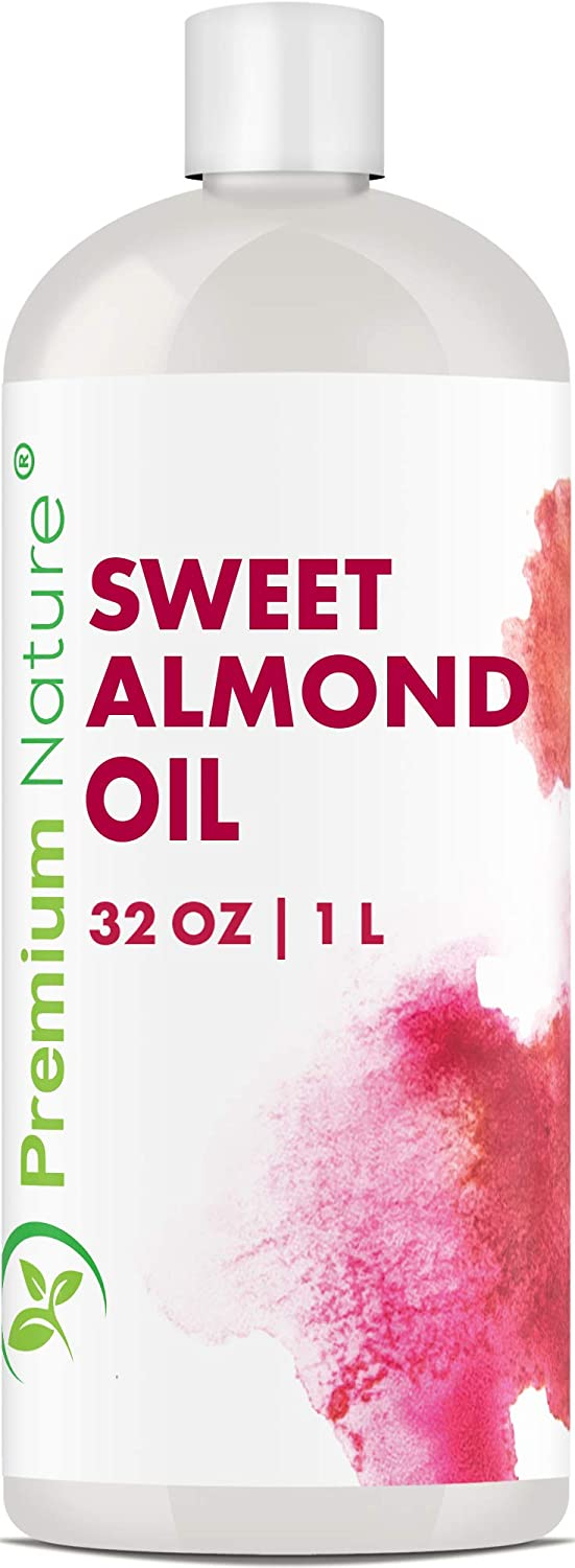 Sweet Almond Oil Best Carrier Oil - 32 oz 100% Natural Pure for Skin & Hair - Cleansing Properties Evens Skin Tone Treats Irritated Skin Nourishes Moisturizes & Prevents Aging Packaging May Vary