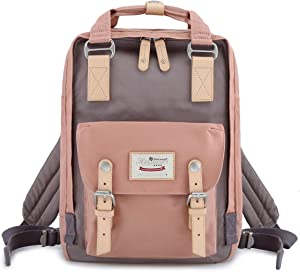 "Himawari School Waterproof Backpack 14.9"" College Vintage Travel Bag for Women,14 inch Laptop for Student (pink&Gray)"