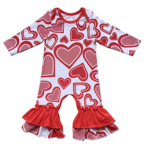 Baby Girls Cotton Icing Ruffle Jumpsuit Pants Happy Easter Bunny Egg Print Long Sleeve Floral Birthday Outfit One-Pieces Ruffles Romper Bodysuit Valentine's Day Love Heart Holiday Playsuit Pajamas]()