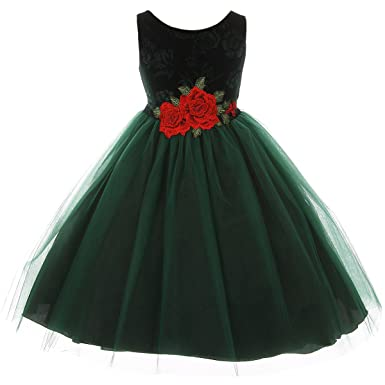 e0c460938737 Amazon.com  Floral Design Velvet Bodice Three Layers Tulle Roses on ...