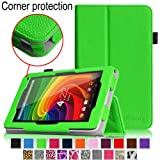 [Corner Protection] Fintie Toshiba Excite Go AT7-C8 / Excite 7c AT7-B8 7-Inch Tablet Folio Case - Premium Vegan Leather Cover with Stylus Holder (Will Not Fit Toshiba Excite AT7-A8) - Green