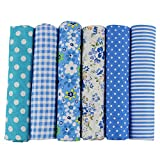 UOOOM 6pcs 50 x 50cm Patchwork Cotton Fabric DIY Handmade Sewing Quilting Fabric Different Designs (Tone-Blue)