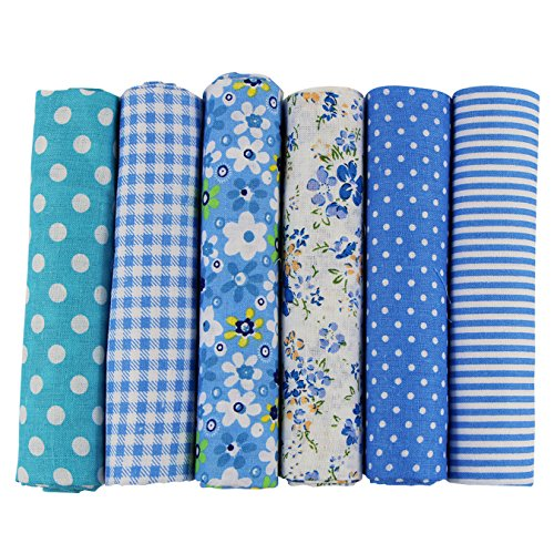 (UOOOM 6pcs 50 x 50cm Patchwork Cotton Fabric DIY Handmade Sewing Quilting Fabric Different Designs (Tone-Blue) )