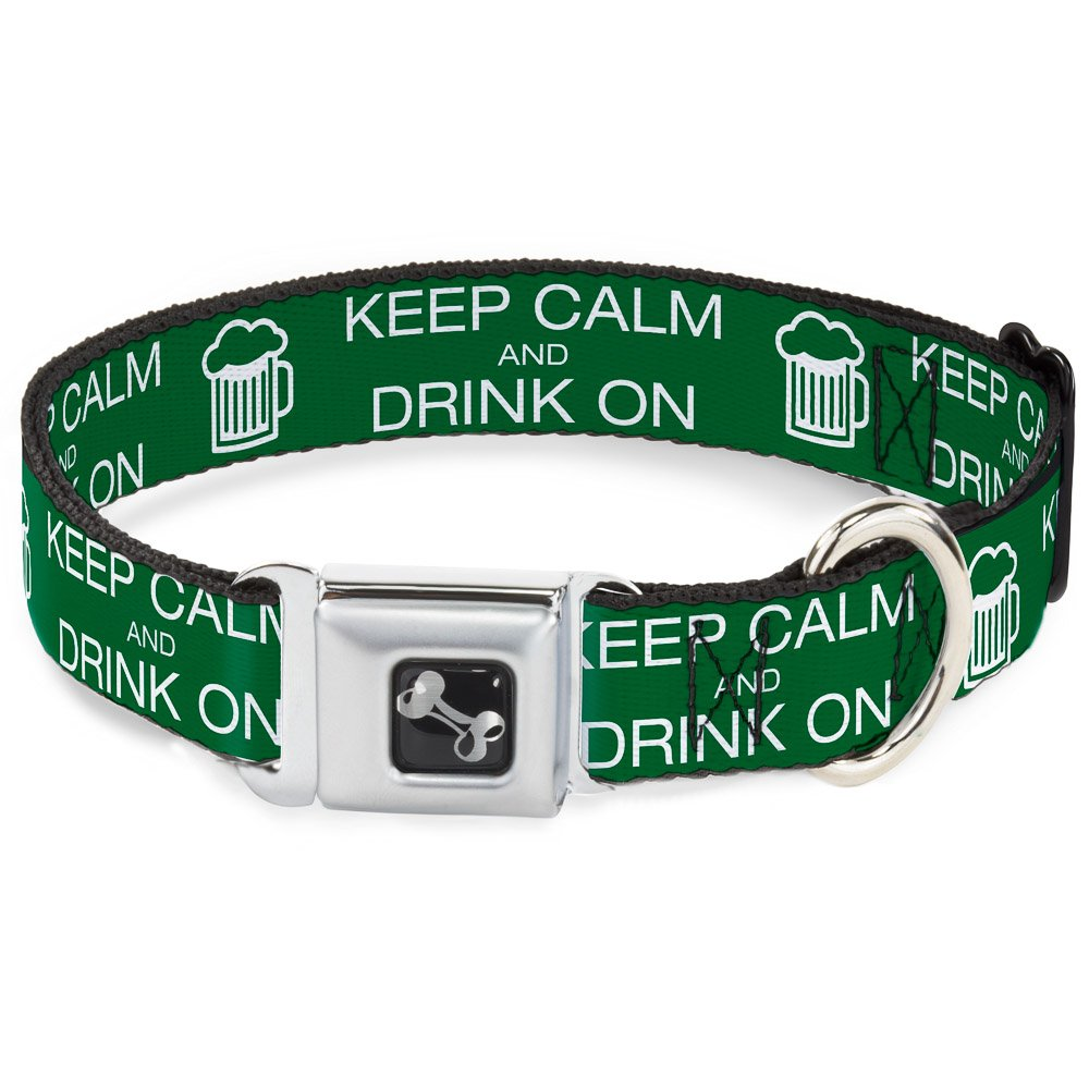 Buckle-Down Seatbelt Buckle Dog Collar Keep Calm and Drink ON Beer Green White 1  Wide Fits 9-15  Neck Small
