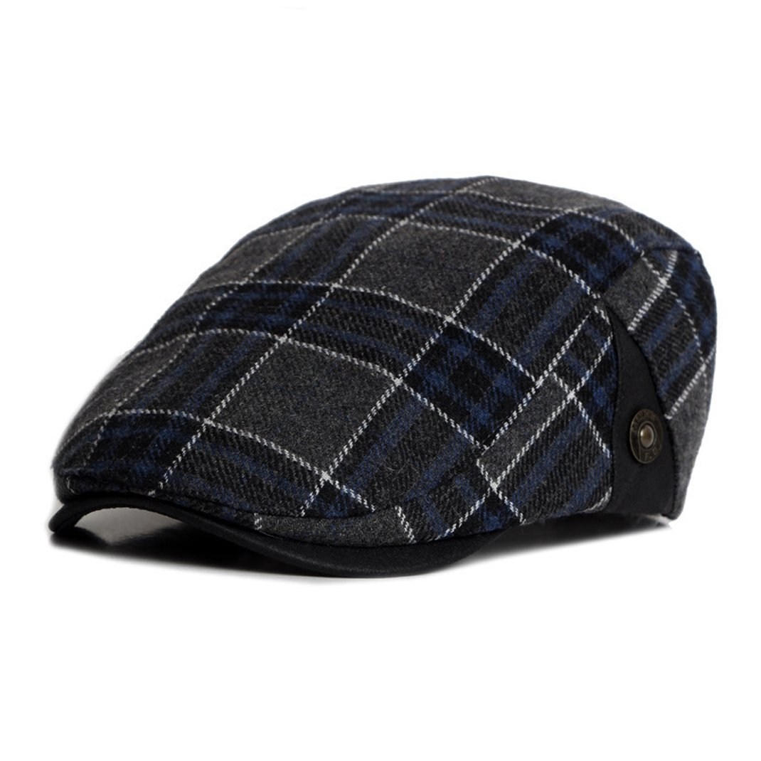 Anshili Men's Plaid Hat Wool Blend Ivy Cap Warm Beret (A) ShiAn