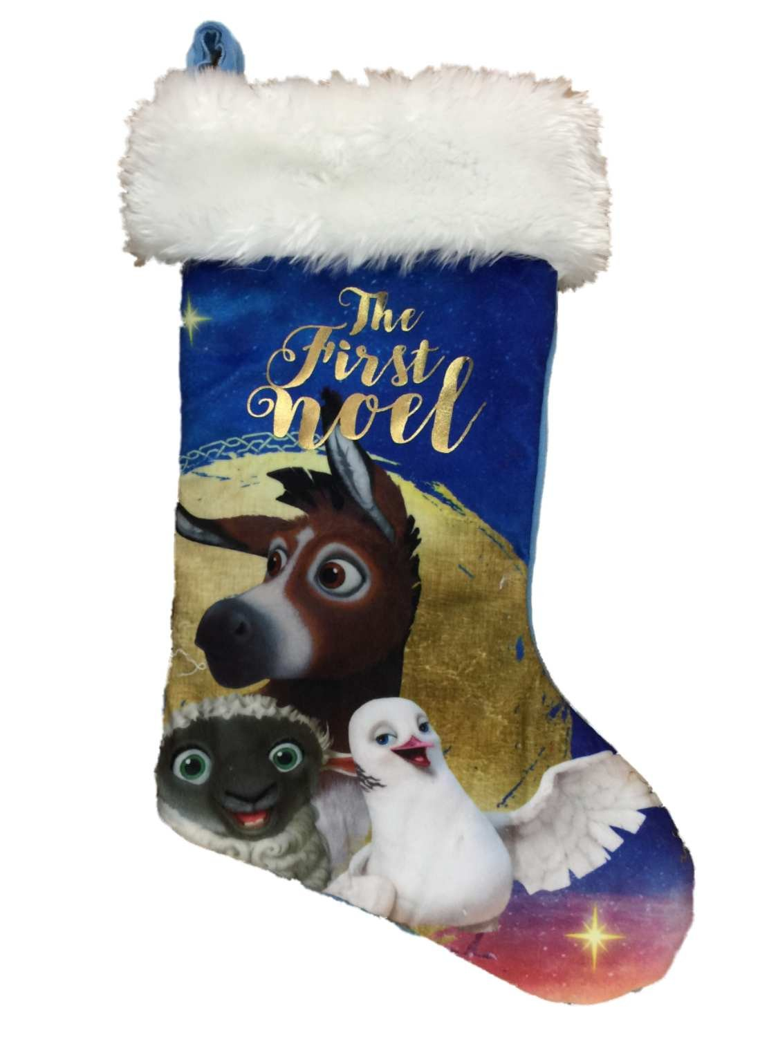 The Star Movie Blue First Noel Christian Nativity Scene Holiday Stocking