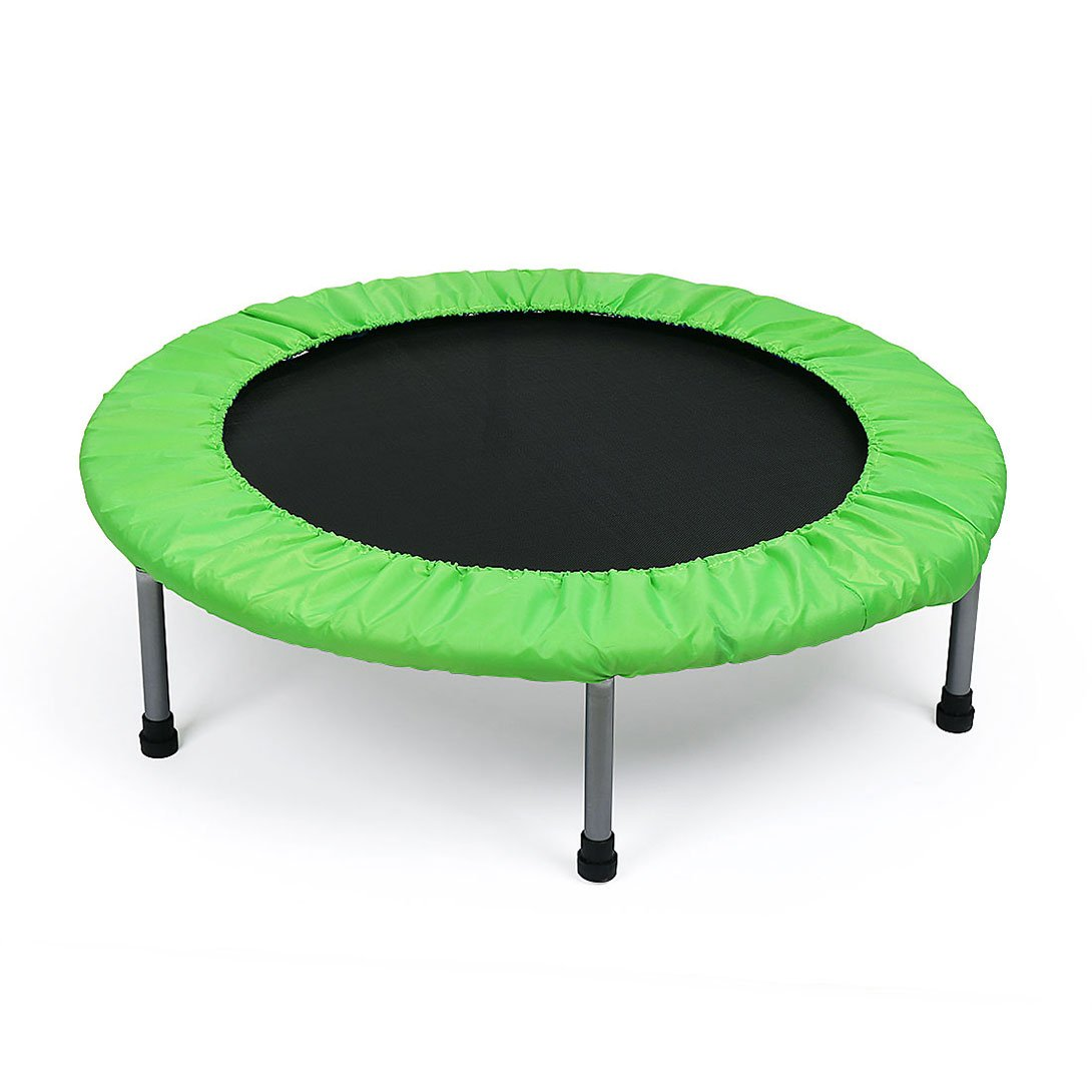 Fran_store Rebounder Trampoline 38-Inch Mini Folding Trampoline with Safety Pad-Max Load 90kg, Blue+Green