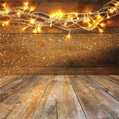 Laeacco Wood Board Table Christmas Warm Gold Garland Lights Backdrop 5x5ft Vinyl Photography Background Rustic Background Shiny Lights New Year Party Decoration Children Family