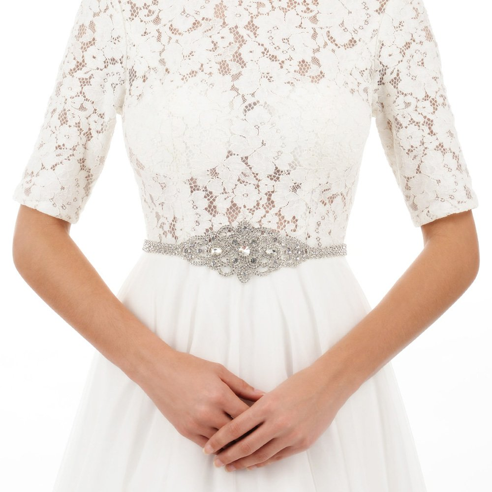 AW Rhinestone Wedding Dress Belt Crystal Bridal Sash Belt, Silver AWEI AWCAYD162U3CP2