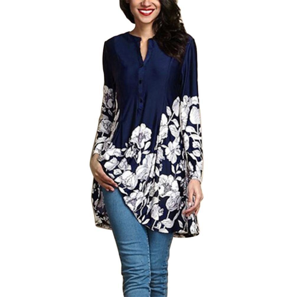vermers Clearance Women Plus Size T Shirt - Women Casual Floral Print V-Neck Blouse Fashion Long Sleeve Button Tops(XL, Dark Blue)