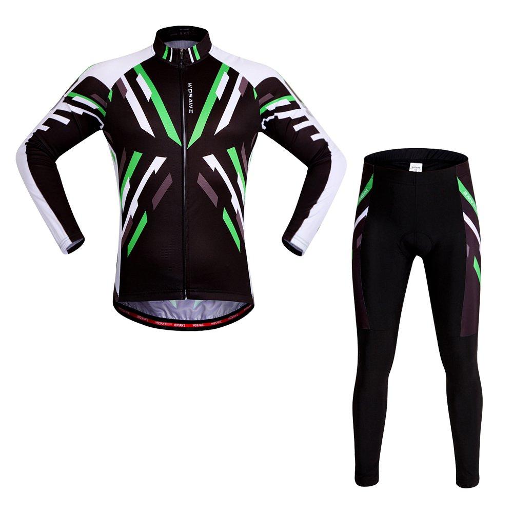WOSAWEメンズサイクリングジャージーシャツ長袖通気性4dパッド入りパンツ B01D1GAW48  Rhythm Set X-Large