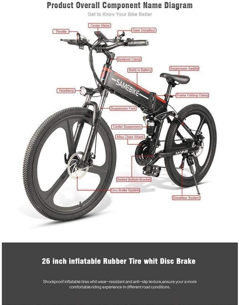 Carsparadisezone Folding Electric Bikes for Adults 350W//500W 25km//h 26 Inch Men Women Mountain Bike e-Bike 48V 10Ah SHIMANO 21 Speed Lithium Battery Disc Brake LCD Screen CE Certification EU STOCK