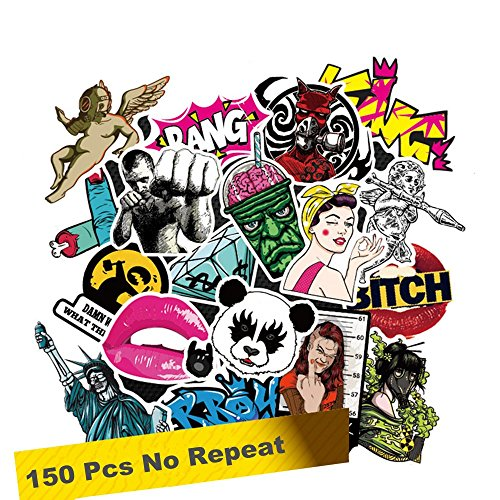 SuperSWK 150 Pieces Car Stickers Random Decals Patterns Bumper Cool Vinyl for Laptop,Bedroom,Travel Case,Luggage,Bike,Bicycle,Motorcycle,Skateboard,Snowboard,PS4,XBOX ONE. (Pack of 150)