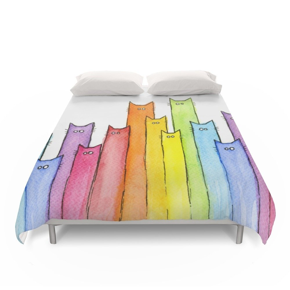 "Society6 Rainbow Of Cats Duvet Covers Queen: 88"" x 88"""