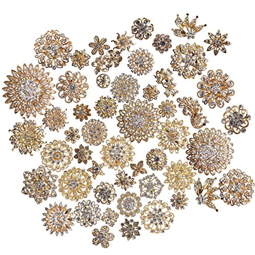 L'vow Silver/gold Color Sparking Wedding Bridal Crystal Brooch Bouquet Kit Pack of 100 (gold) by ZAKI