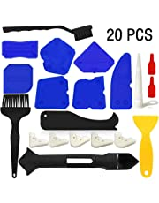 20 PCS Caulking Tool Kits Silicone Sealant Finishing Tools Silicone Grout Remover Scraper Smoothing Sealing Tool Caulk Remover Tool Cleaning Brushes for Bathroom Kitchen Room and Home Sealing Projects