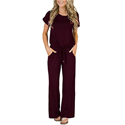 Womens Casual Short Sleeve Jumpsuits Loose Wide Leg Long Pants Drawstring Rompers with Pockets: Clothing