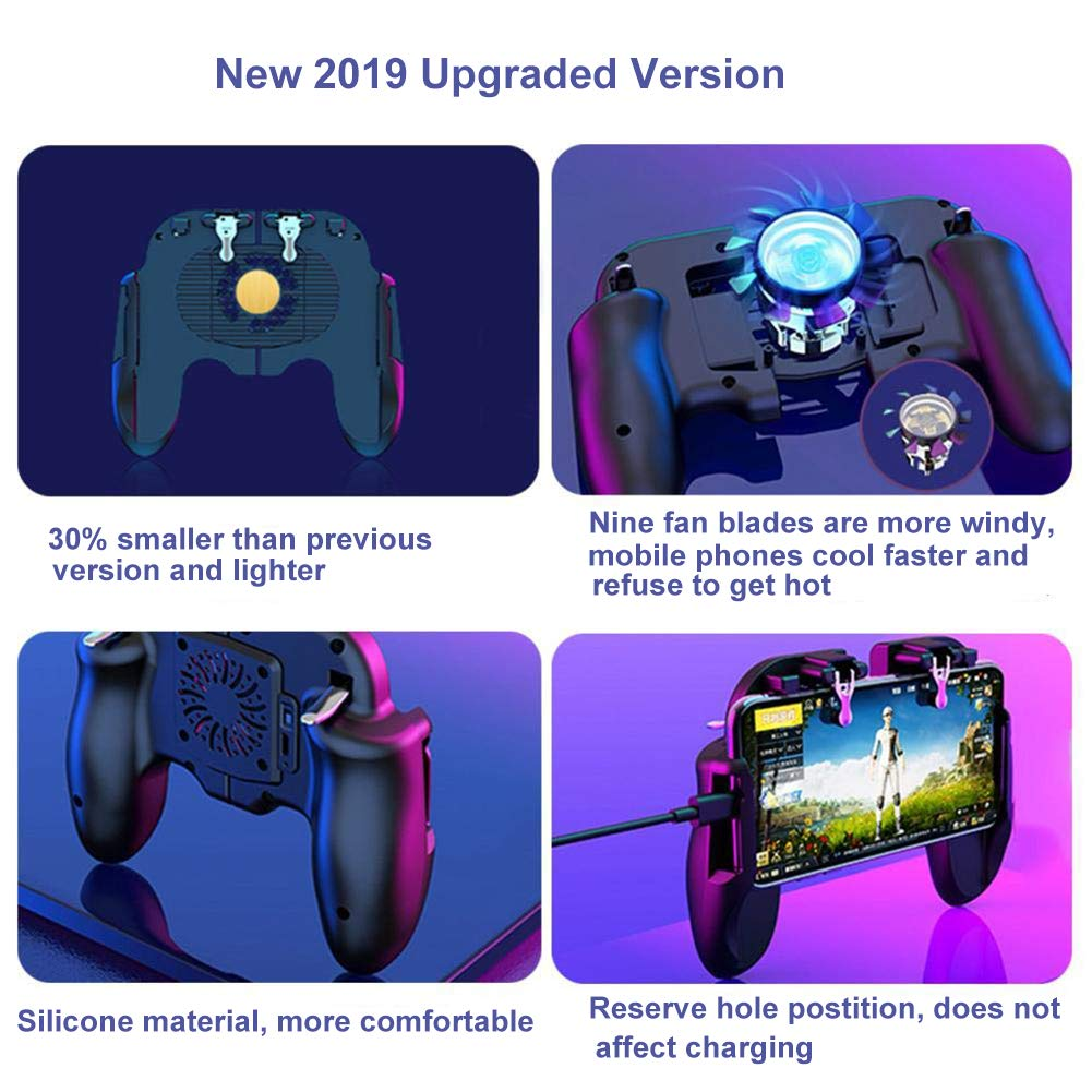 YZmoffer Mobile Game Controller with Cooling Fan Latest Version for iOS Android Phone Game Controller, Wireless Mobile Gaming Controller Joystick Gamepad, Mobile Gaming Joystick 2019 Version
