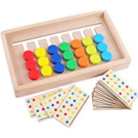 TOYANDONA Wooden Slide Puzzle Board Montessori Toys Color Sorting Logic Games Matching Brain Teasers Preschool Learning Toys for Age 3 4 Years Old Toddlers Kids Child