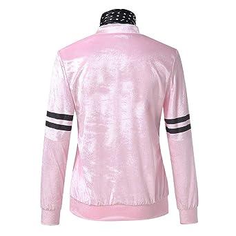 MEIbax Moda mujer abrigos y tops calientes Mujeres Retro 1950s Pink Ladies Print Traje de Lunares Bufanda Conjunto Abrigo Chaqueta
