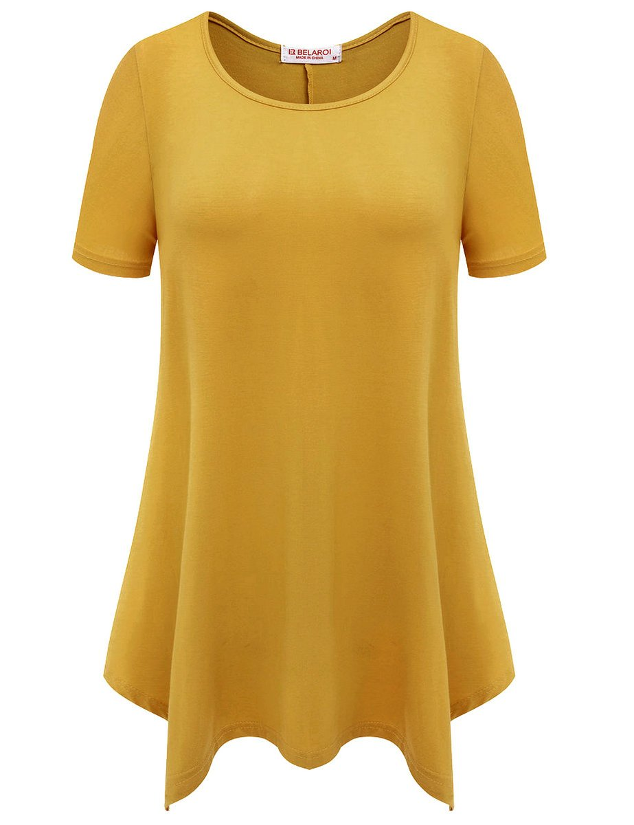 BELAROI Womens Basic Solid Loose Fit Short Sleeve Tunic T Shirt (L, Yellow)