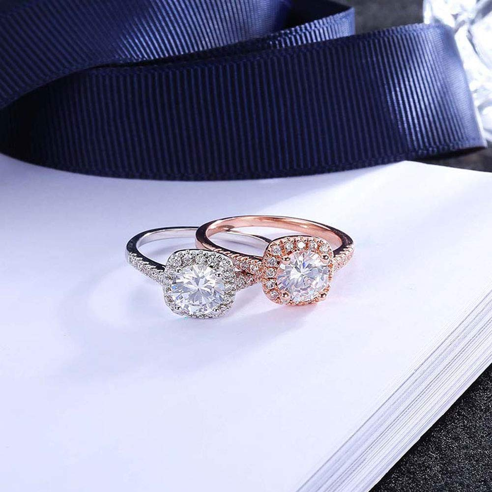 Rose Gold 10 Afco Girls Big Round Cubic Zirconia Inlaid Engagement Wedding Finger Ring Jewelry