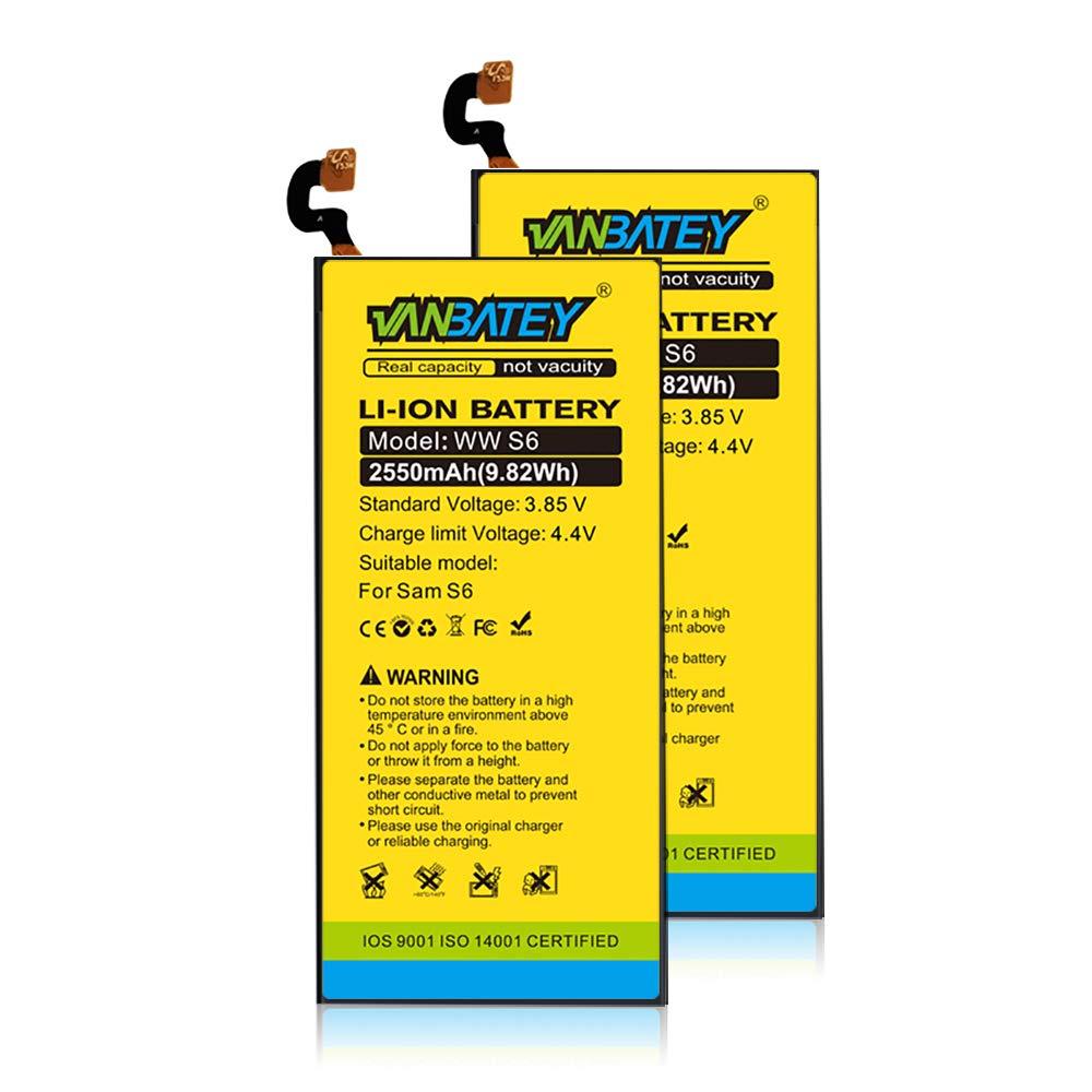 Vanbatey Bater/ía de para Galaxy S6 2550mAah Repuesto Interno de pol/ímero Litio EB-Bg920ABE Compatible con Herramientas Reparaci/ón SM-G920F G920A G920P G920T G920V