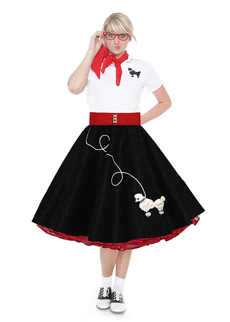 Retro Skirts: Vintage, Pencil, Circle, & Plus Sizes Hip Hop 50s Shop Adult 7 Piece Poodle Skirt Costume Set $119.99 AT vintagedancer.com