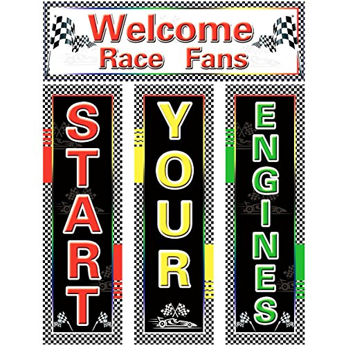 Cut Out Decorations - Racing Cutouts for Race Car Themed Party Birthday Wedding Baby Shower Classroom Decoration 4 Pcs