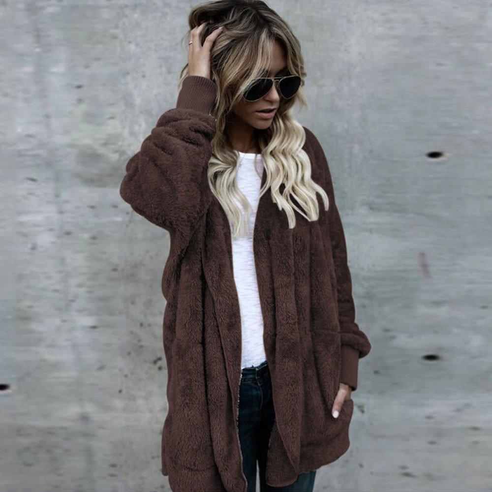 Clemunn Damen Winter Mantel /Übergr/ö/ßen Winterjacke Faux Fur Parka Coa Winterjacke Teddy-Fleece Outwear Felljacke