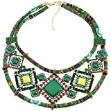 Diamondo Women Charm Rhinestone Statement Chain Choker Pendant Necklace (Green)