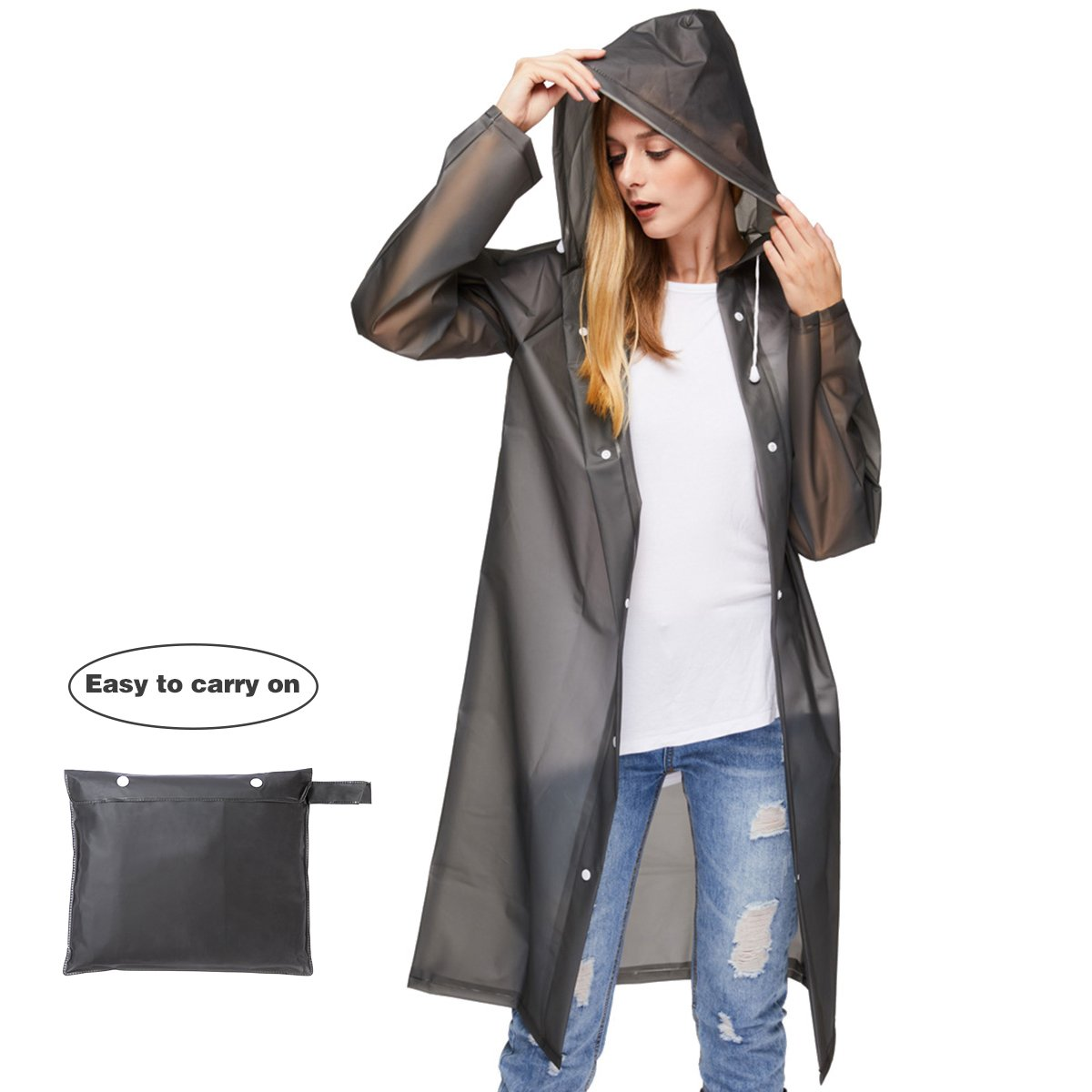 UNIQUEBELLA Clear EVA Raincoat Women Waterproof Rain Ponchos Long Rainwear Packable Lightweight Hooded Raincoat Travel Fishing Daily Use - Black (M)