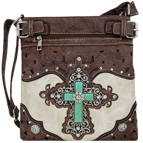 (Western Rhinestone Cross Tooled Leather Concealed Carry Purse Crossbody Handbag Women Single Shoulder Bag (Beige))