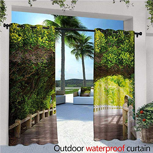 homehot Forest Exterior/Outside Curtains Nature Boardwalk Through Green Archway Bridge Foliage Trees Sunny Summer Day for Patio Light Block Heat Out Water Proof Drape W72 x L96 Beige Green Brown