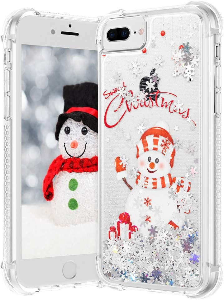 VEGO Christmas Case for iPhone 6 Plus 6s Plus 7 Plus 8 Plus, Glitter Liquid Sparkle Floating Bling Merry Christmas Snowman Pattern TPU Cute Children Girls Women Gifts Cover 5.5 inch (Snowman)